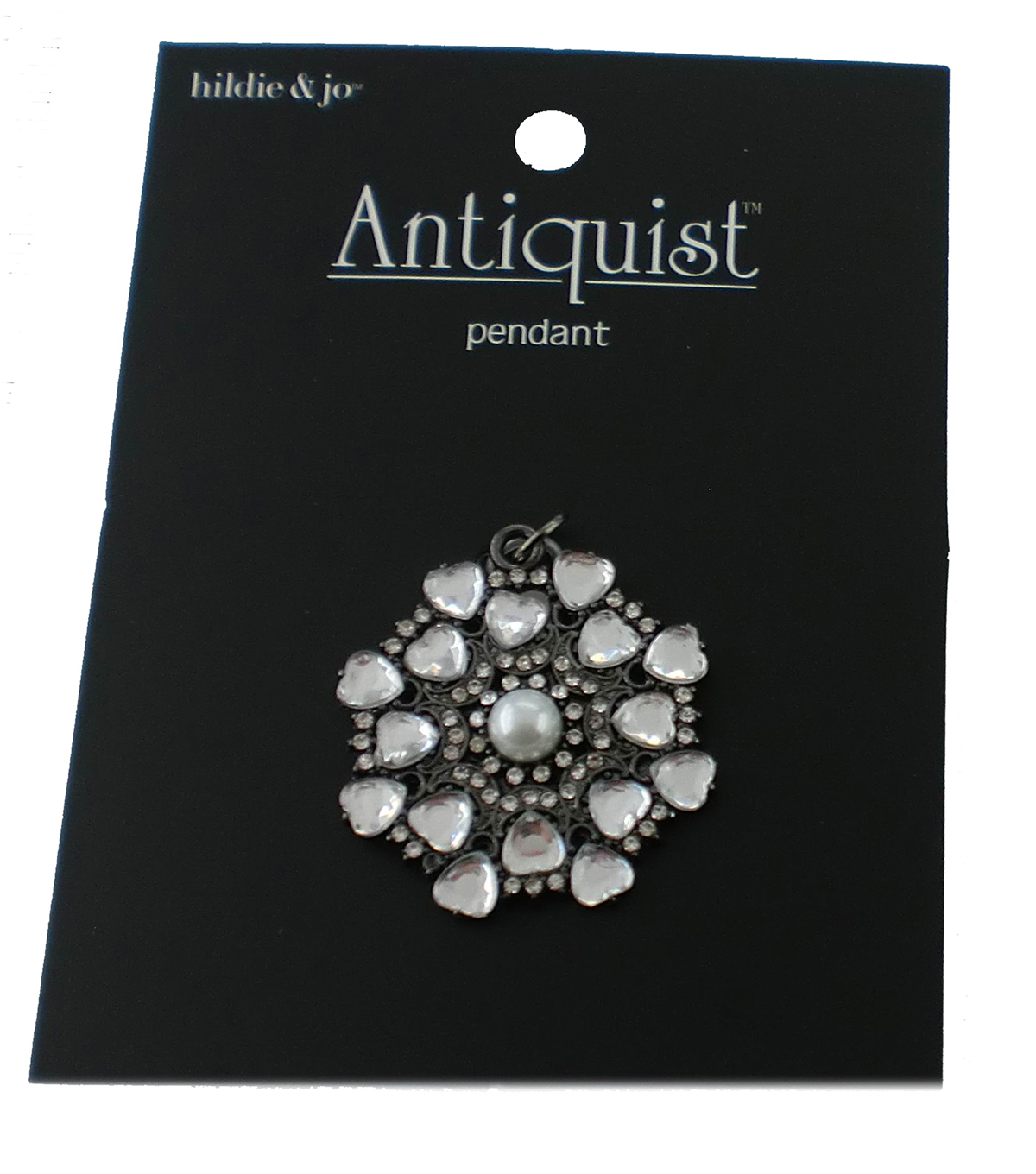 hildie & jo™ Antiquist Circular Antique Silver Pendant-Clear Heart