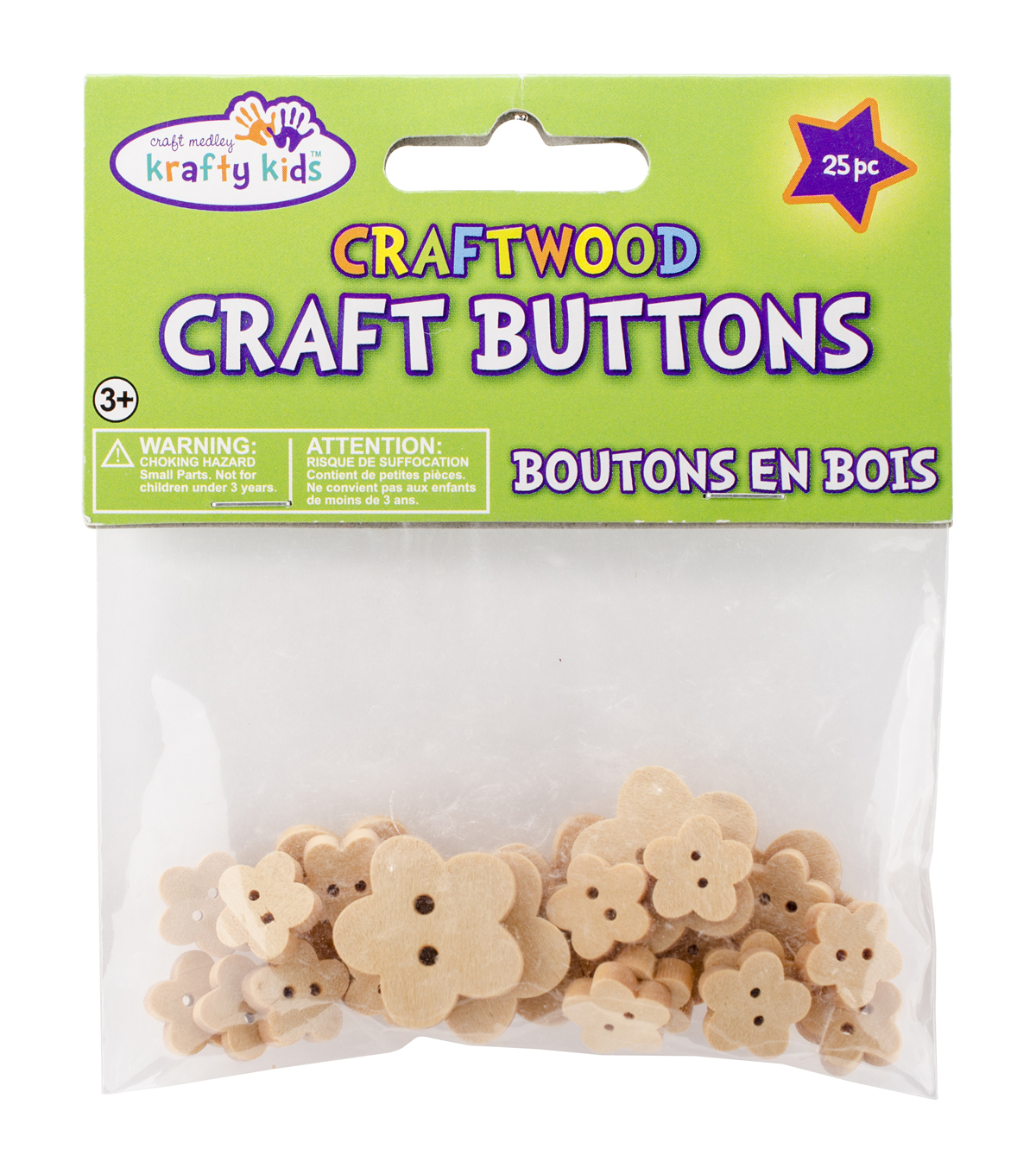 Krafty Kids Craft Shaped Natural Flowers Buttons