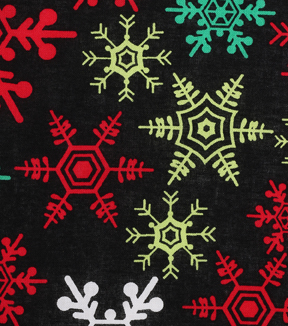 Holiday Showcase™ Christmas Cotton Fabric 43''-Snowflakes on Black