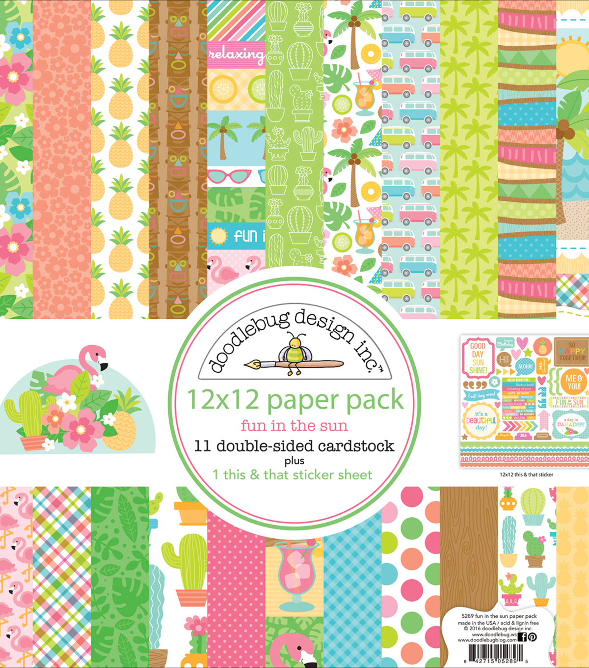 Doodlebug Double-Sided Paper Pack 12\u0022X12\u0022-Fun In The Sun