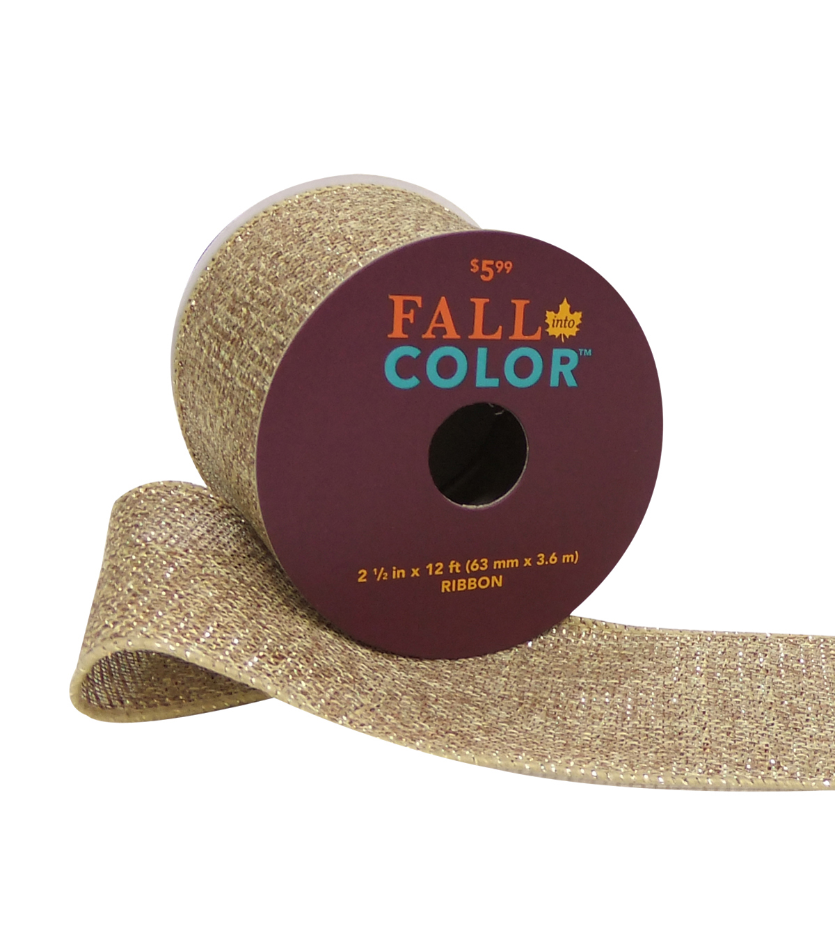Fall Into Color Glitter Ribbon 2.5''x12'-Natural & Gold