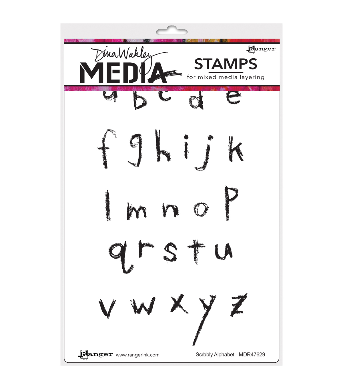 Ranger® Dina Wakley Media Cling Stamps-Scribbly Alphabet