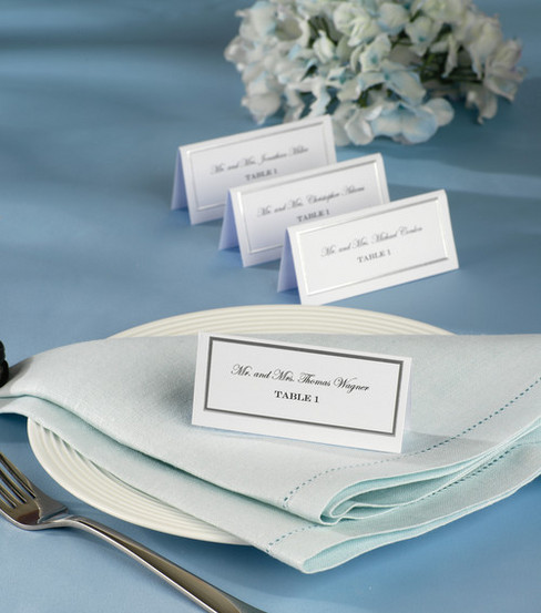 Wilton 60ct Silver Border Placecards-White