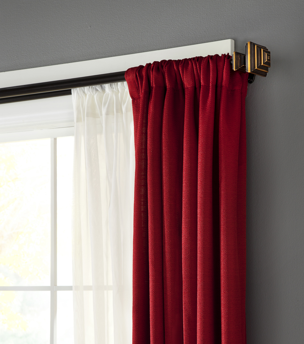 Kenney 33\u0022 to 66\u0022 3/4\u0022 Diameter Stacey Room Darkening Double Curtain Rod