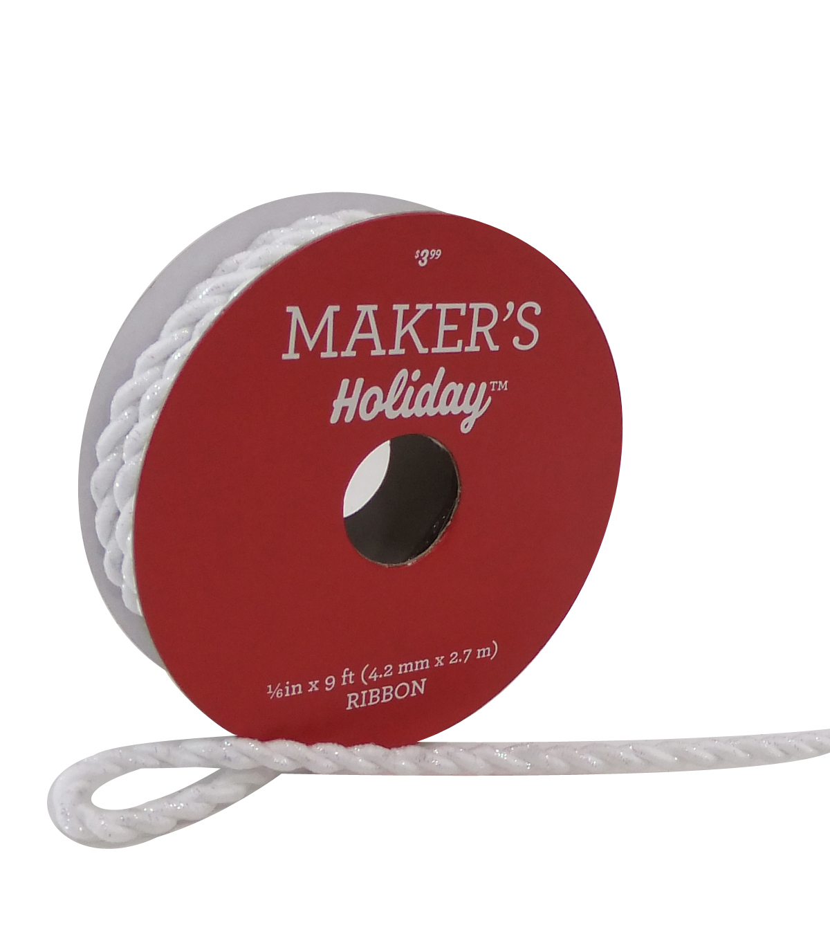 Maker\u0027s Holiday Christmas Cord Ribbon 1/6\u0027\u0027x9\u0027-White