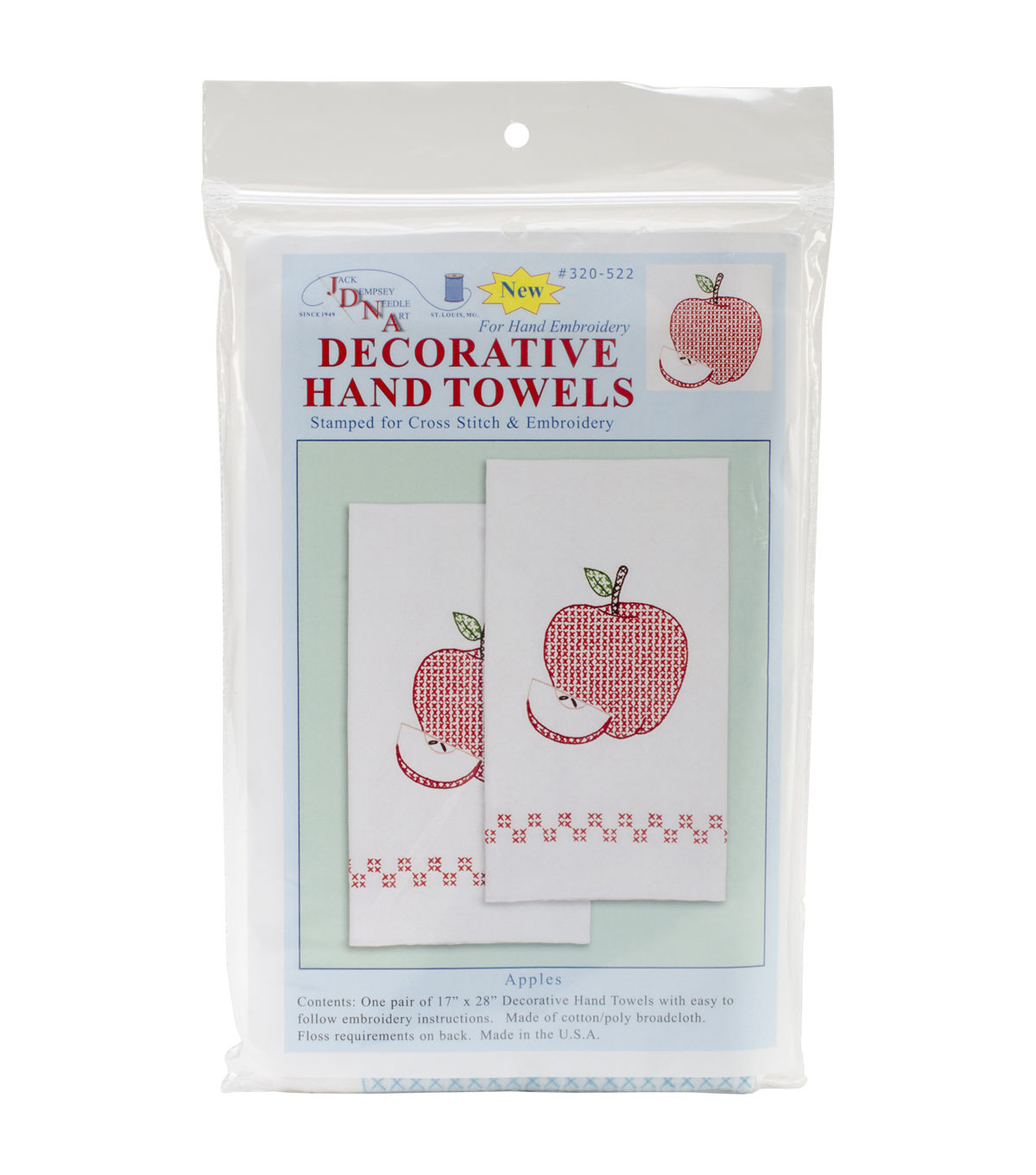 Jack Dempsey Stamped Decorative Hand Towel Apples White