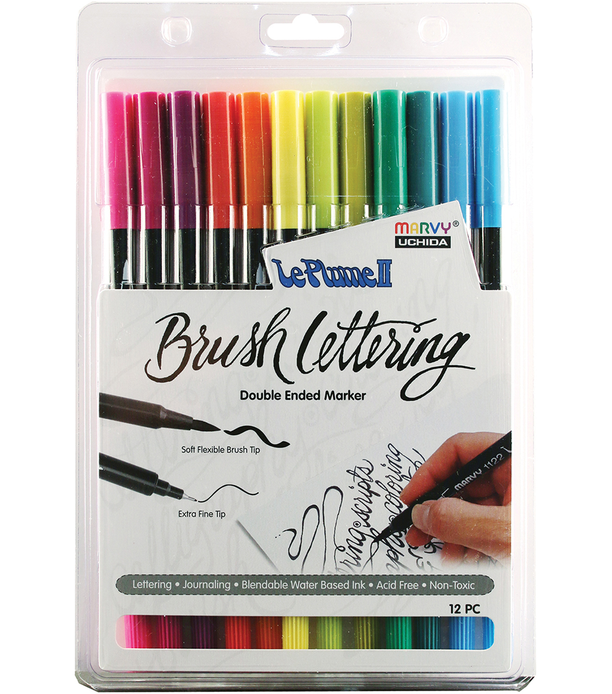 Le Plume II Double-Ended Brush Lettering Marker Set-Bright