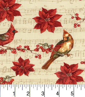 "Maker's Holiday Cotton Fabric 43""-Birds on Branches and Music"
