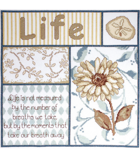 Tobin-Life\u0027s Moments Counted Cross Stitch Kit-12 X12  14 Count