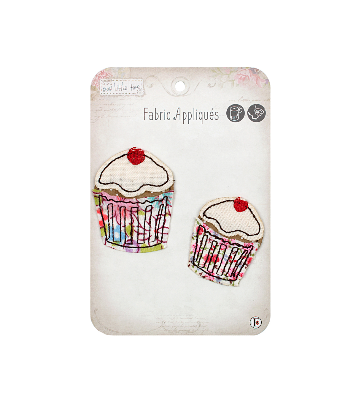 Fabric Editions Sew Little Time 2 Pack Fabric Appliques-Cupcake