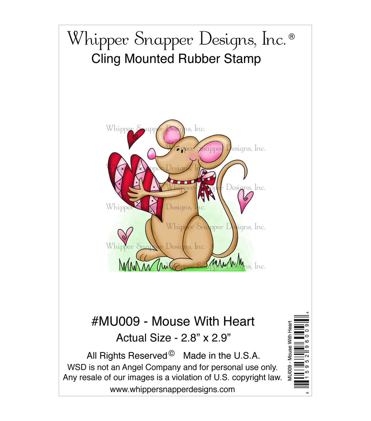Whipper Snapper Designs Cling Stamp-Mouse With Heart