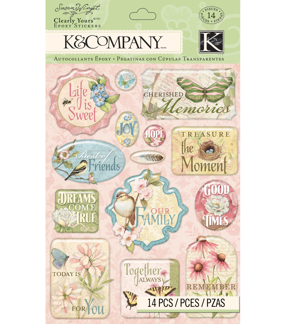 K&Company Susan Winget 14 pk Clearly Yours Stickers-Floral Words