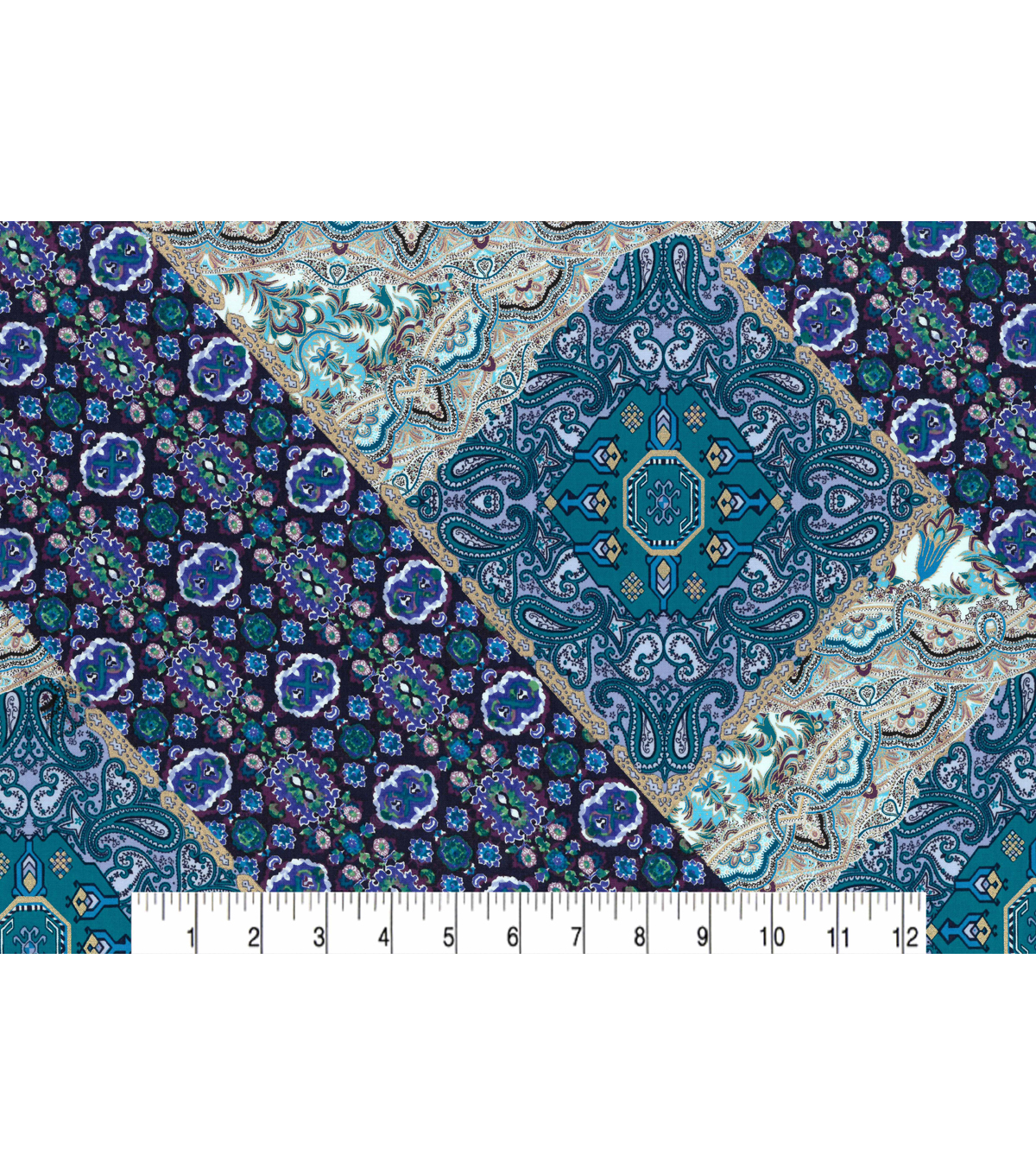 Two Daughters™ Premium Quilt Cotton Fabric 43\u0027\u0027-Majestic Peacock Patch