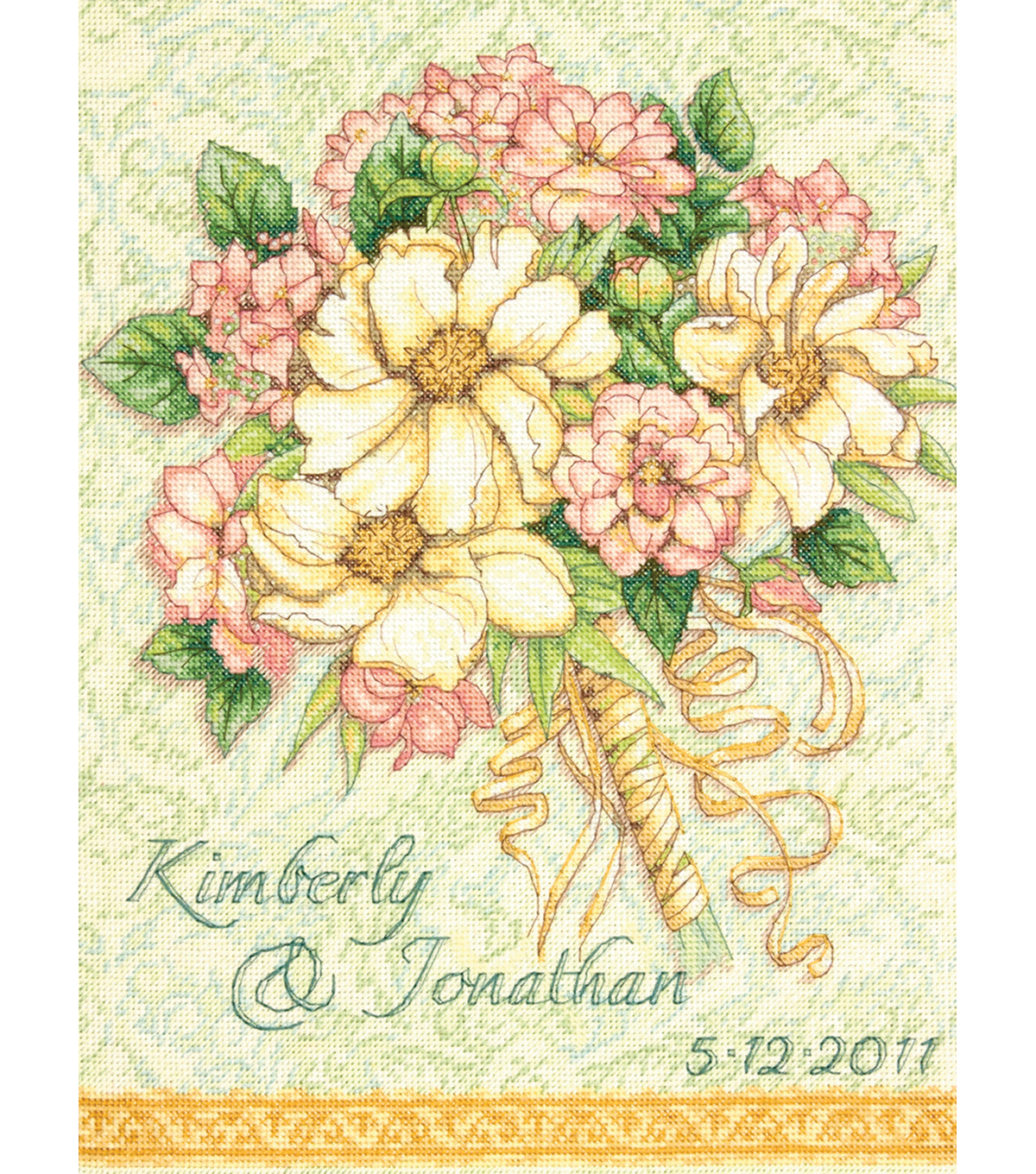 "Gold Collection Bouquet Wedding Record Counted Cross Stitch-11""X14"""