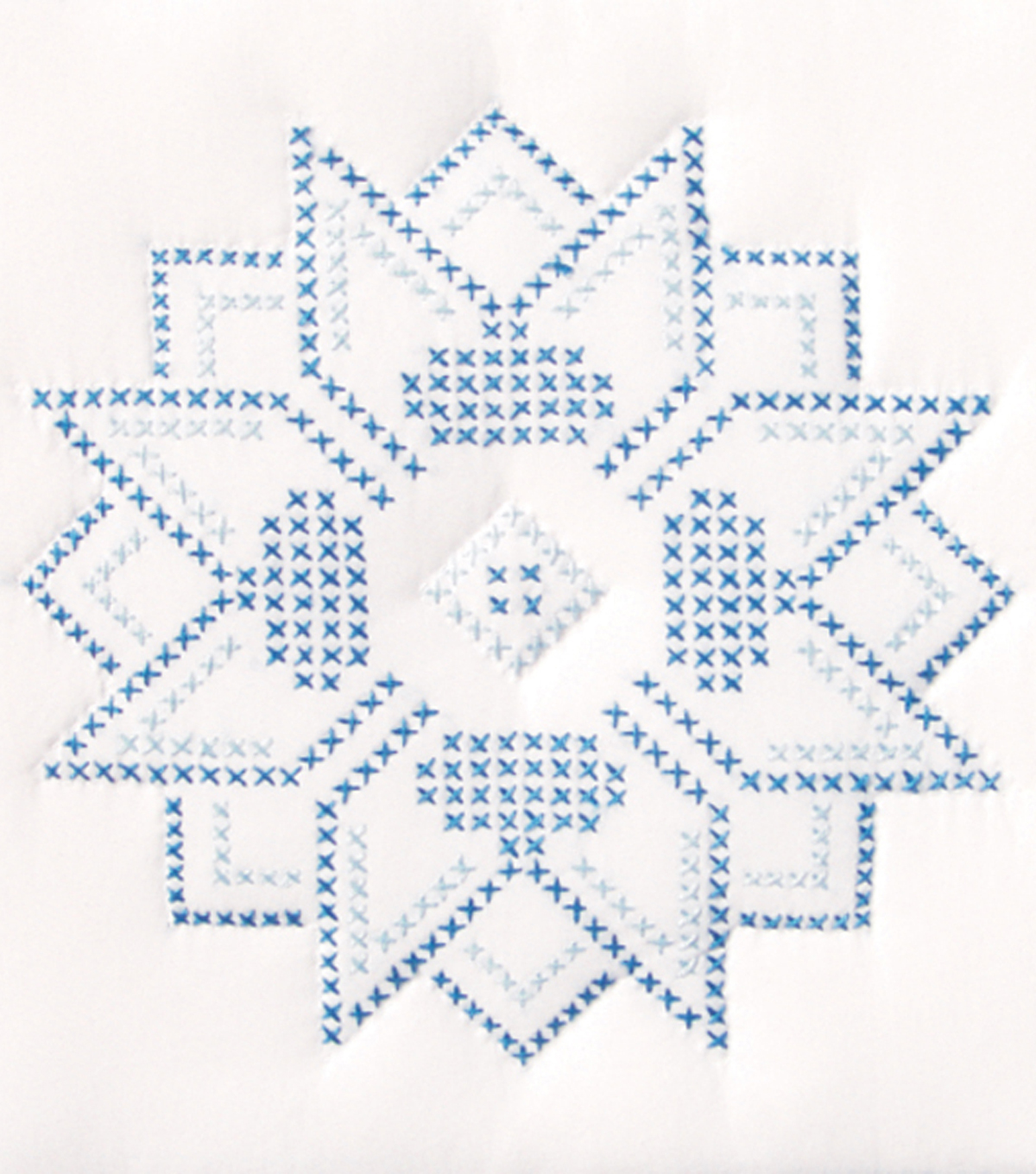 Stamped White Quilt Blocks 9\u0022X9\u0022-XX Stars
