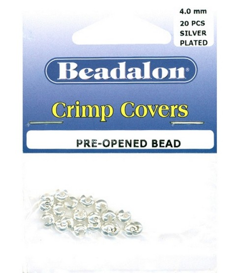 Beadalon 4mm  Crimp Covers-20PK/Silver Plated