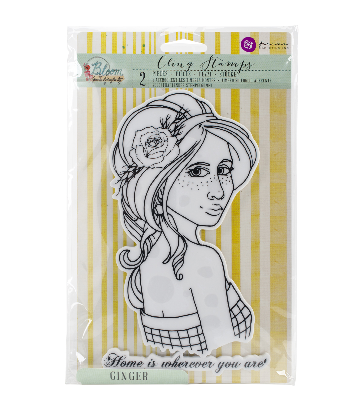 Prima Marketing Bloom Cling Rubber Stamps-Ginger