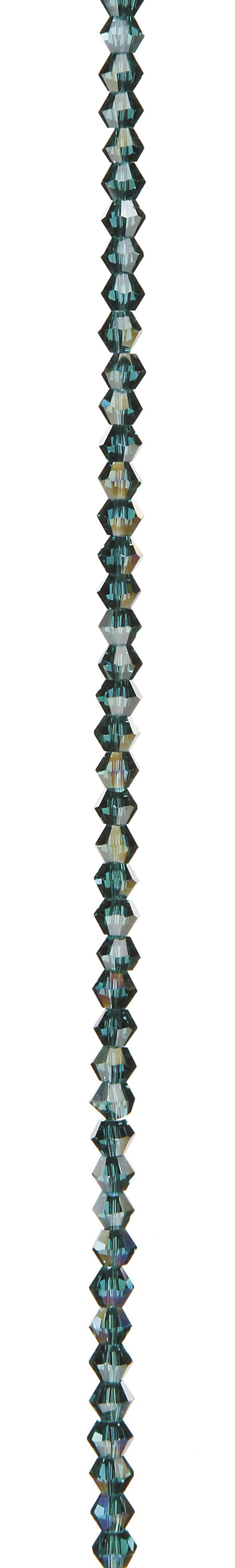 "7"" Bead Strands - Teal AB Crystal Bicones, 4mm"