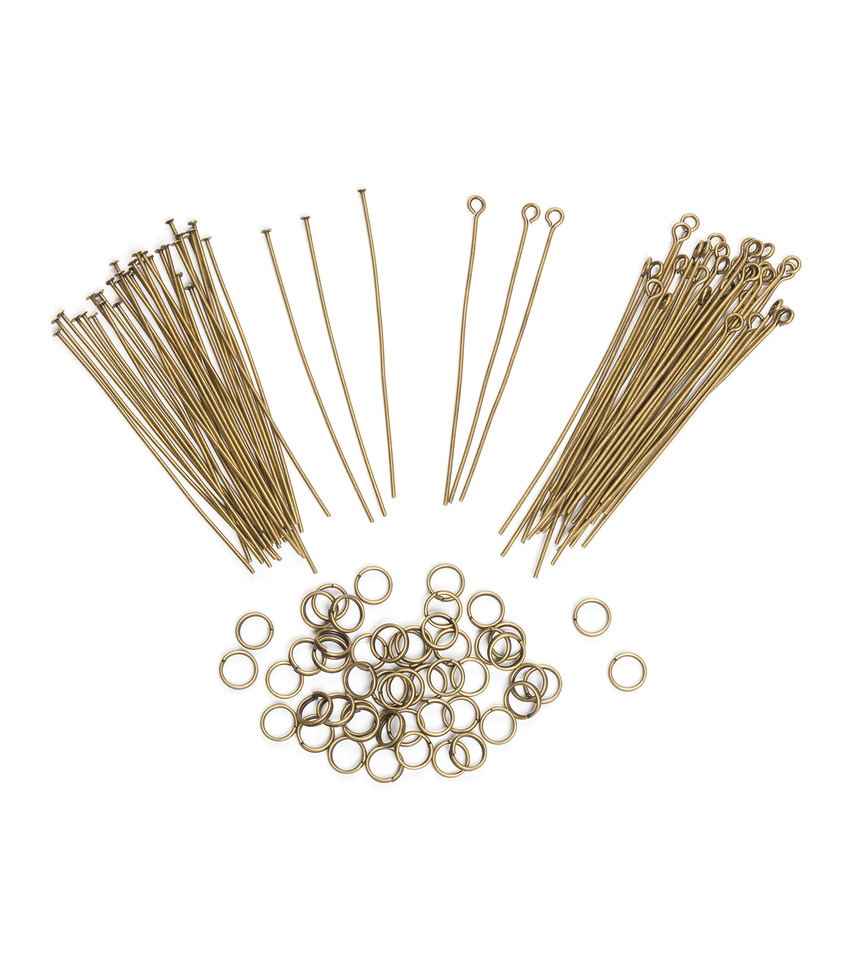 Jewelry Finding Assortment Eye pin/Headpin/Jump Ring, Ant. Brass, 122pc.