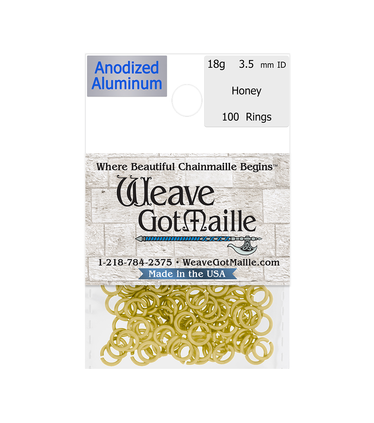 Weave Got Maille Pack of 100 3.5 mm Jump Rings-Honey