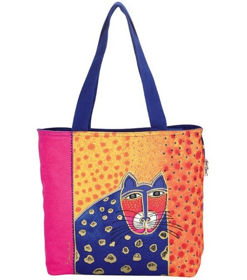 Laurel Burch Shoulder Zip Top Totes