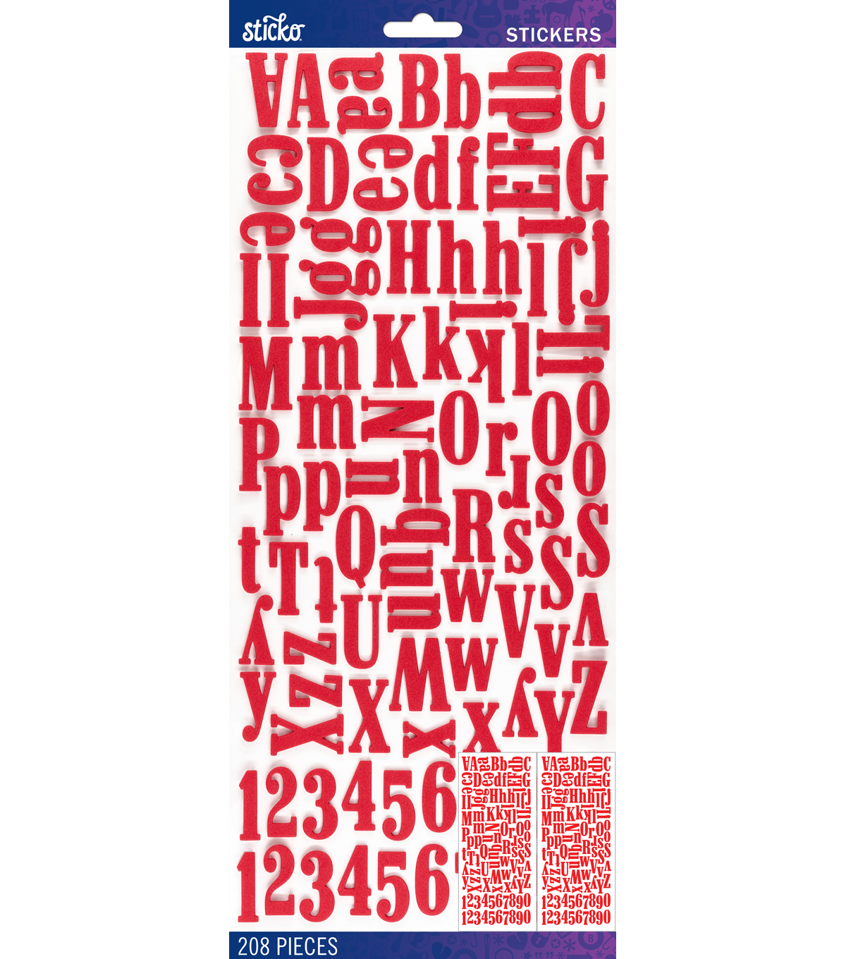 Sticko® 208 Pack Foam Dimensional Alphabet Stickers-Red