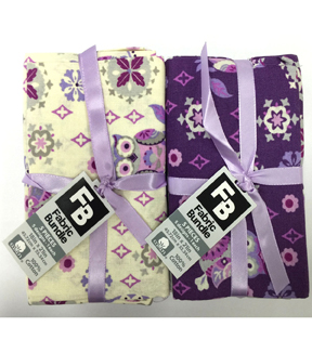Fat Quarter Bundle Cotton Fabric 18\u0027\u0027-Owls & Floral on Purple