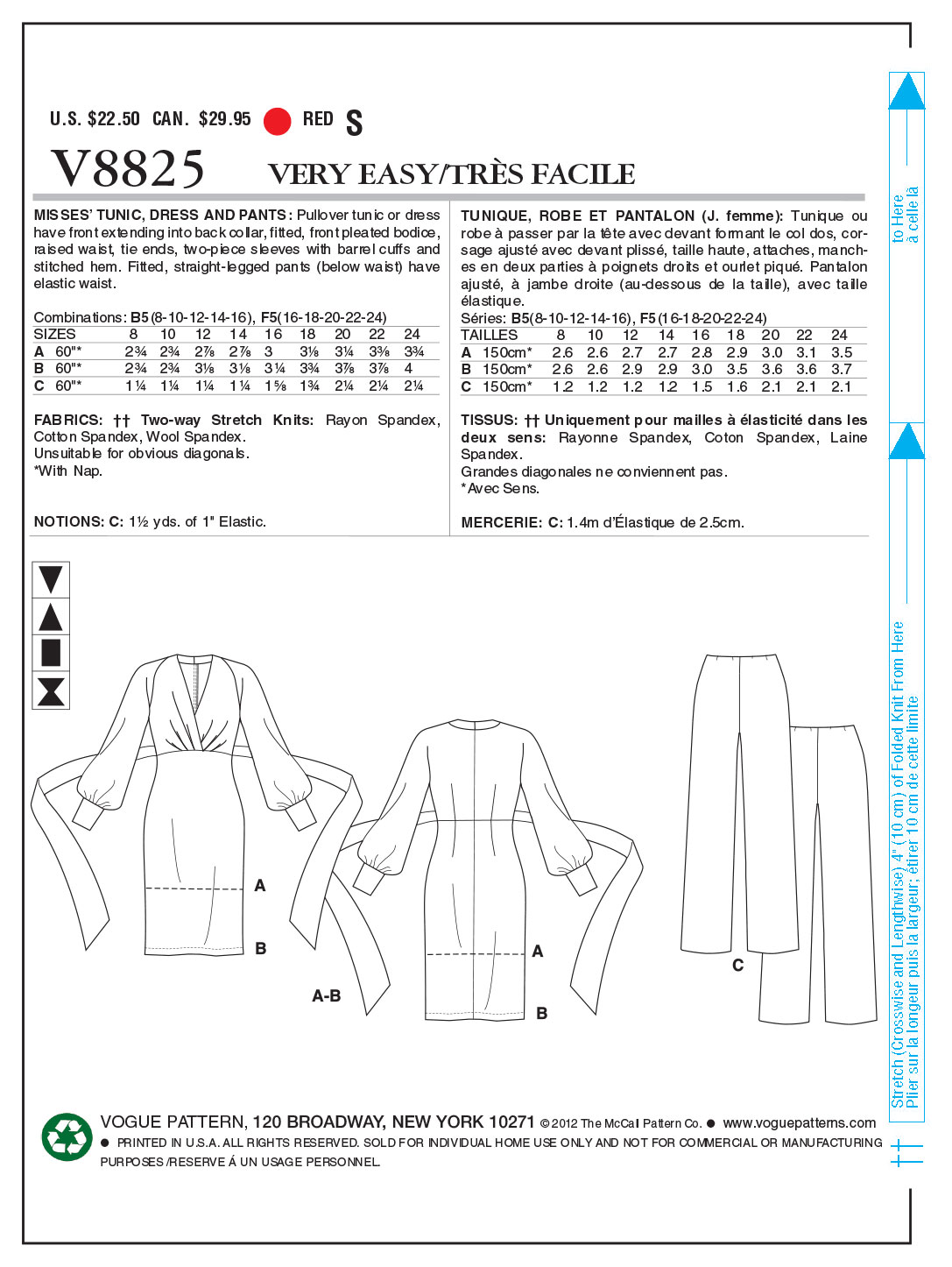 Vogue Patterns Misses Dress-V8825