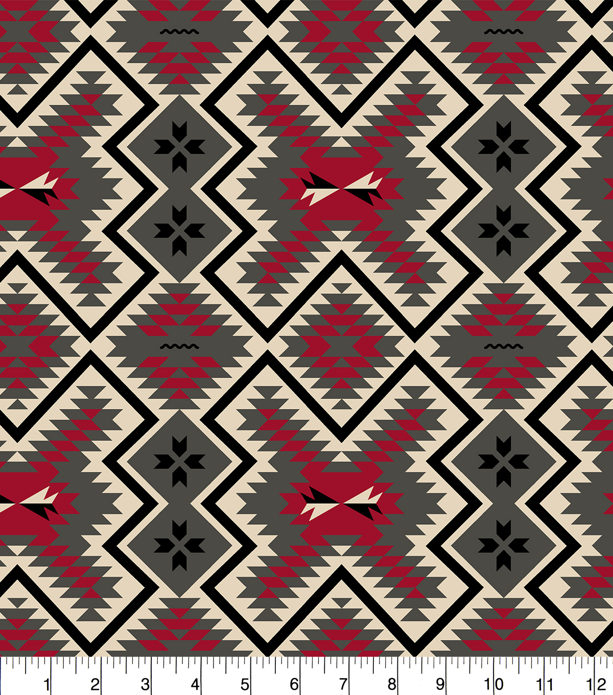 "Red Grey Aztec Snuggle Flannel Fabric 42"" | JOANN"