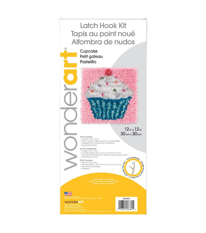 Wonderart Latch Hook Kit 12\u0022X12\u0022 Cupcake