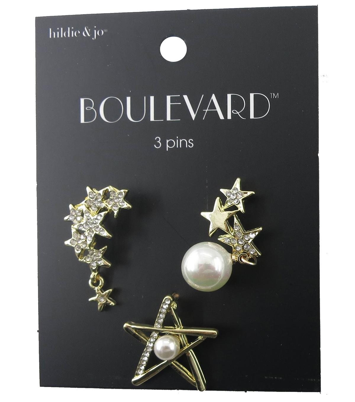 hildie & jo™ Boulevard Star, Pearl Star & Star Cluster Gold Pins