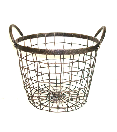 Bloom Room Large Round Metal Wire Basket With Handles