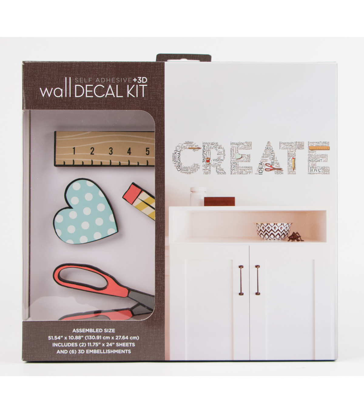 Self Adhesive & 3D Wall Decal Kit-Create