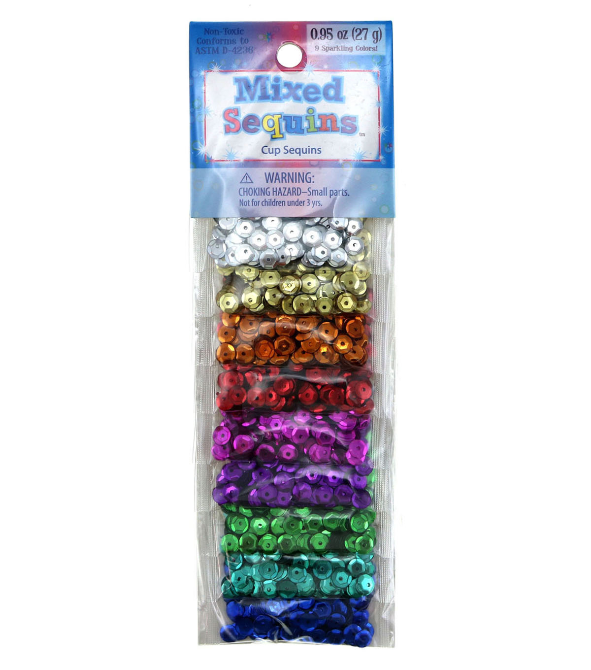 Mixed Sequins 3 Grams 9/Pkg-Assorted Cups