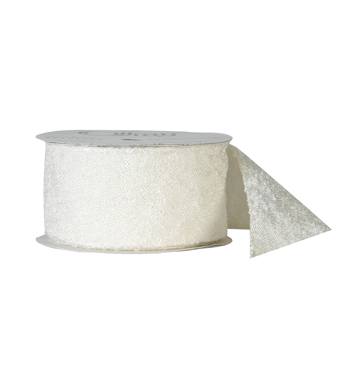 "Offray 1.5""x9' Woven Texture Natural Solid Ribbon-Antique White"