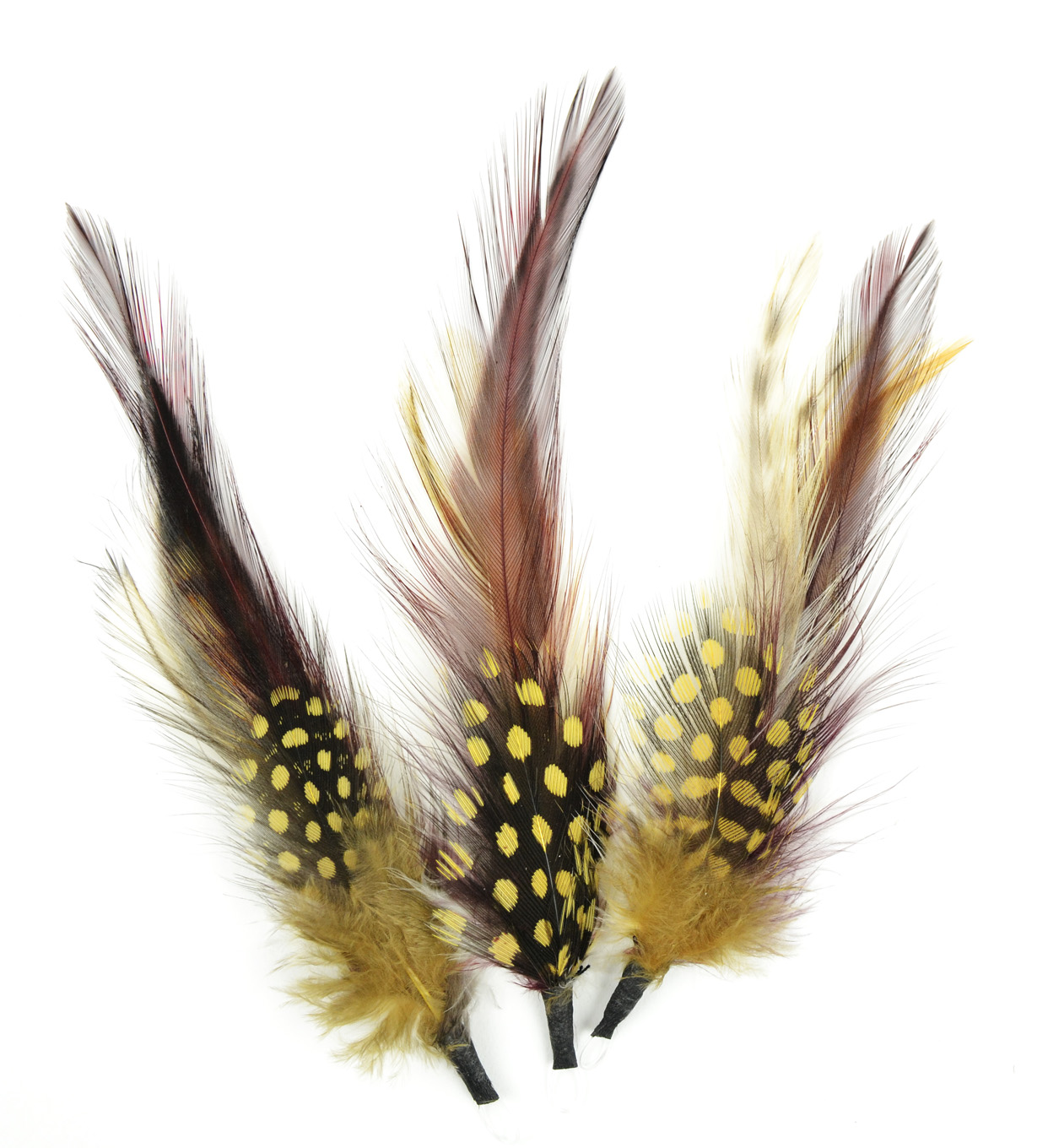 Natural Feather Pick with nylon loop 4\u0022 (10.2 cm) Gold, Wine, Natural, 3 pieces