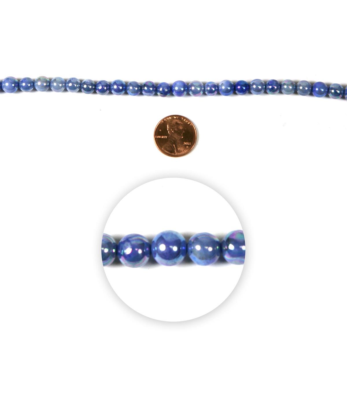 Blue Moon Strung Shell Beads,Round,Light Blue AB