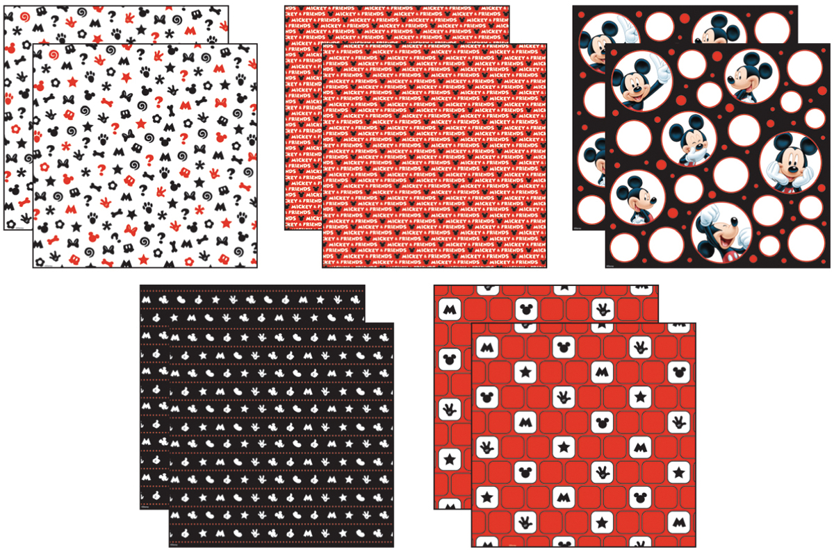 Disney® Mickey Black/White/Red Paper Pack 12\u0022X12\u0022 10 Sheets-2 Each/5 Textured Papers