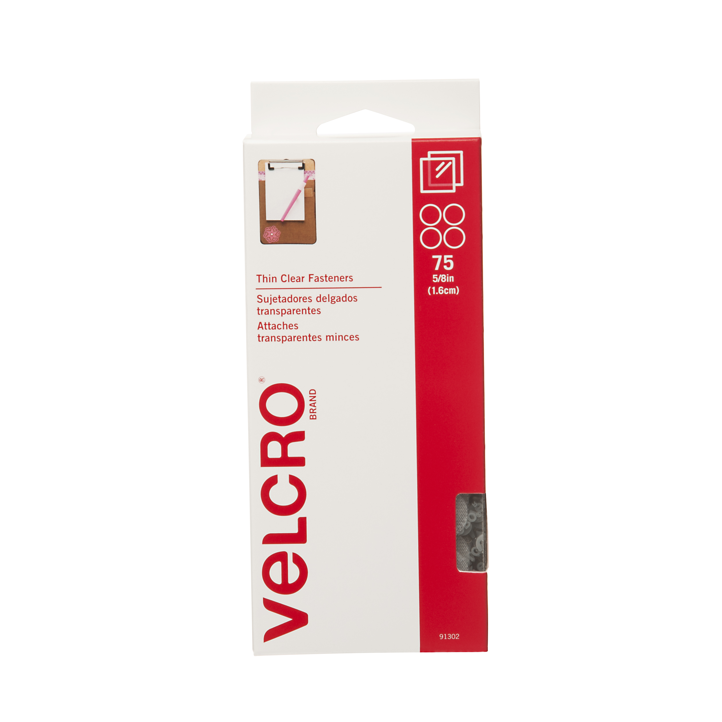 "VELCRO® Brand® Stick-On Coins 5/8"" 75/Pkg-Clear"