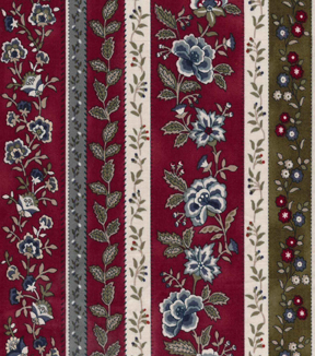 Vintage Cotton Fabric 43\u0027\u0027-Jacobean Stripe on Red