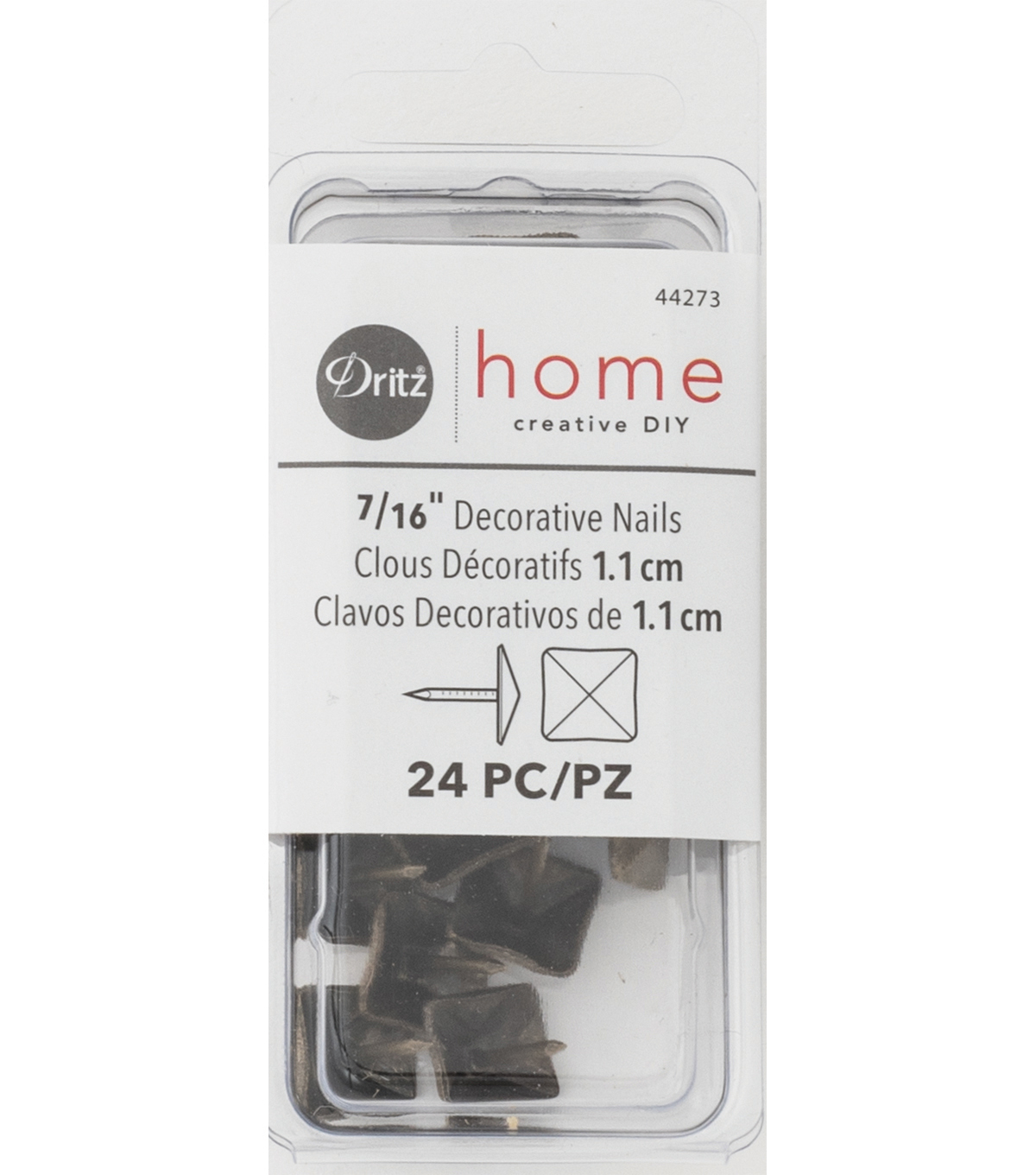Dritz Home 0.47\u0022 Decorative Nails Square 24pcs Gold