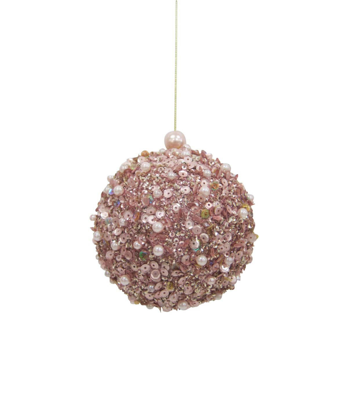 Maker\u0027s Holiday Christmas Holiday Charm Sequin Globe Ornament-Pink