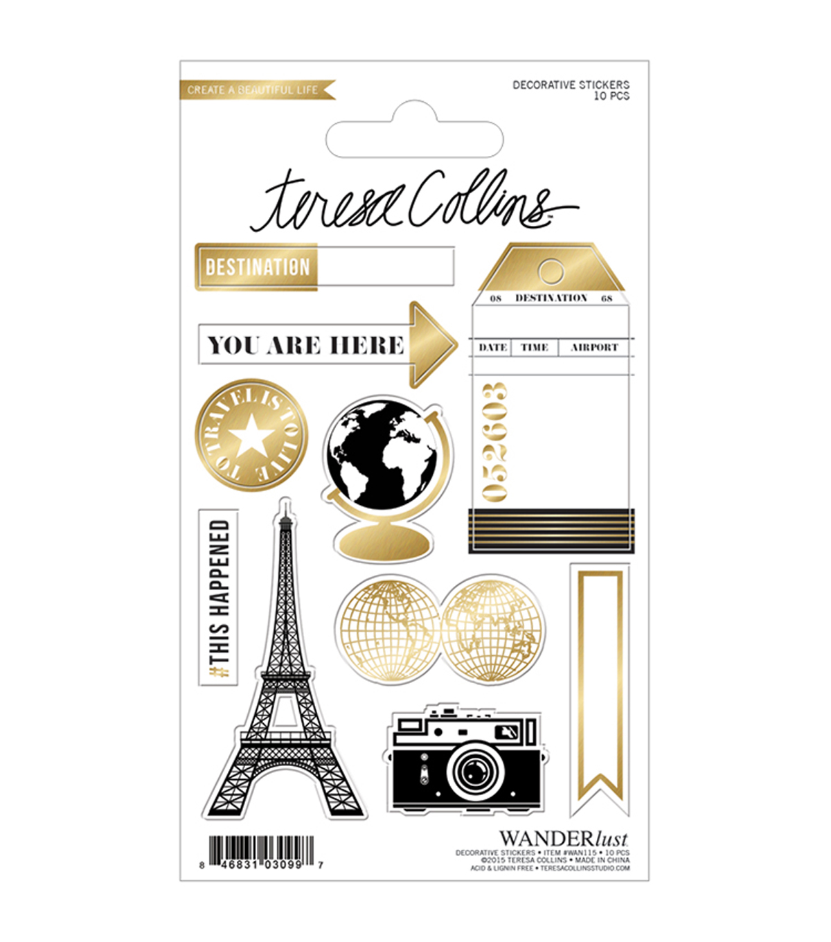 Teresa Collins Wanderlust Stickers-Decorative