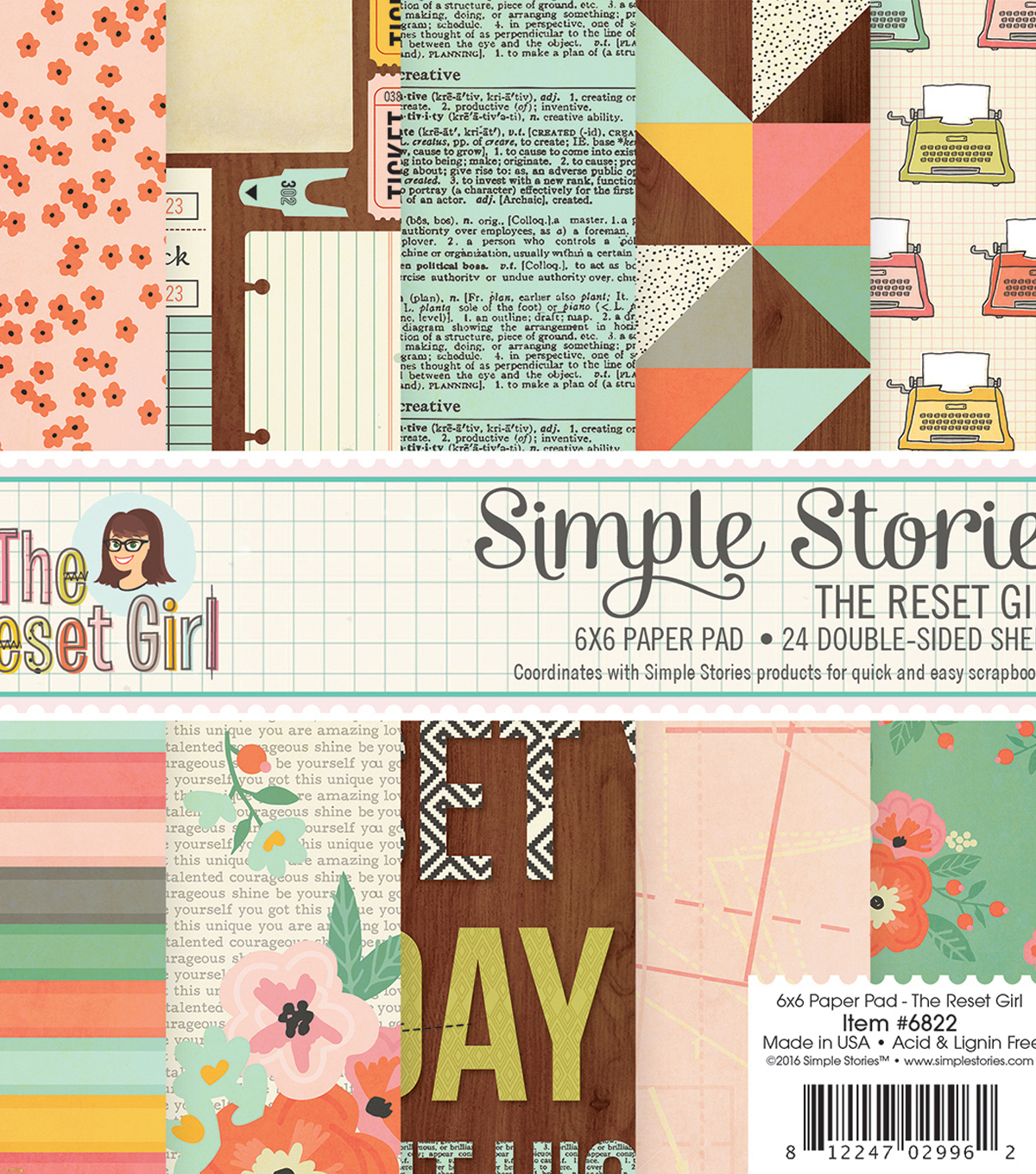 "Simple Stories Double-Sided Paper Pad 6""X6""-The Reset Girl"