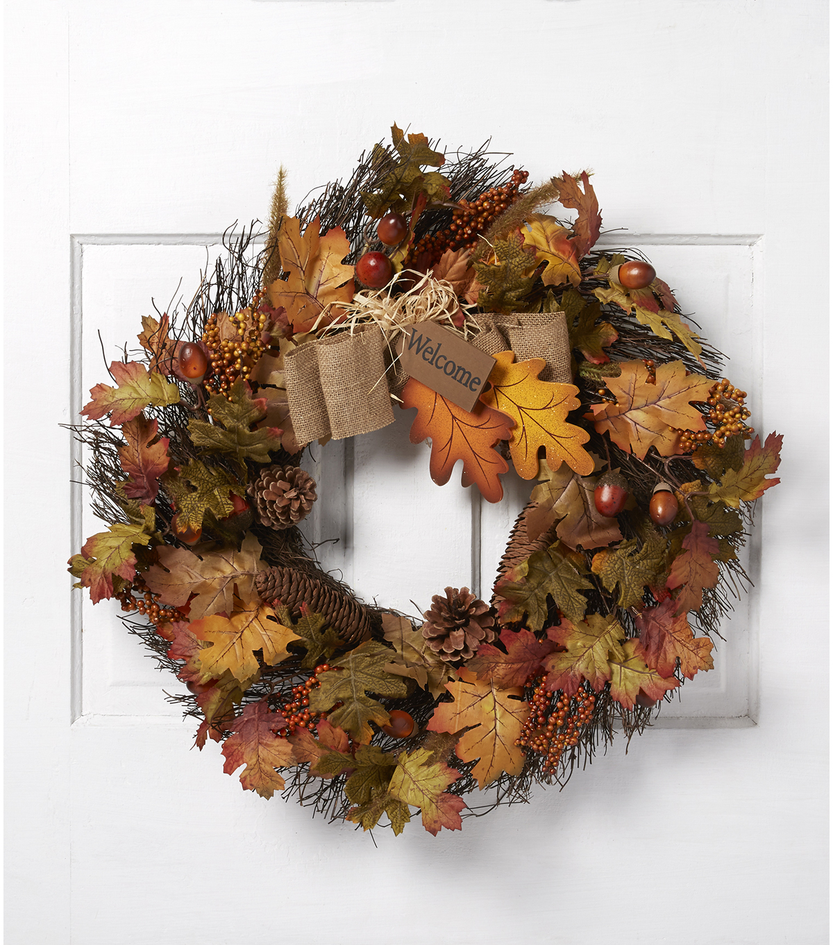 Blooming Autumn 23\u0027\u0027 Oak Acorn Berry Twig Wreath-Orange & Green
