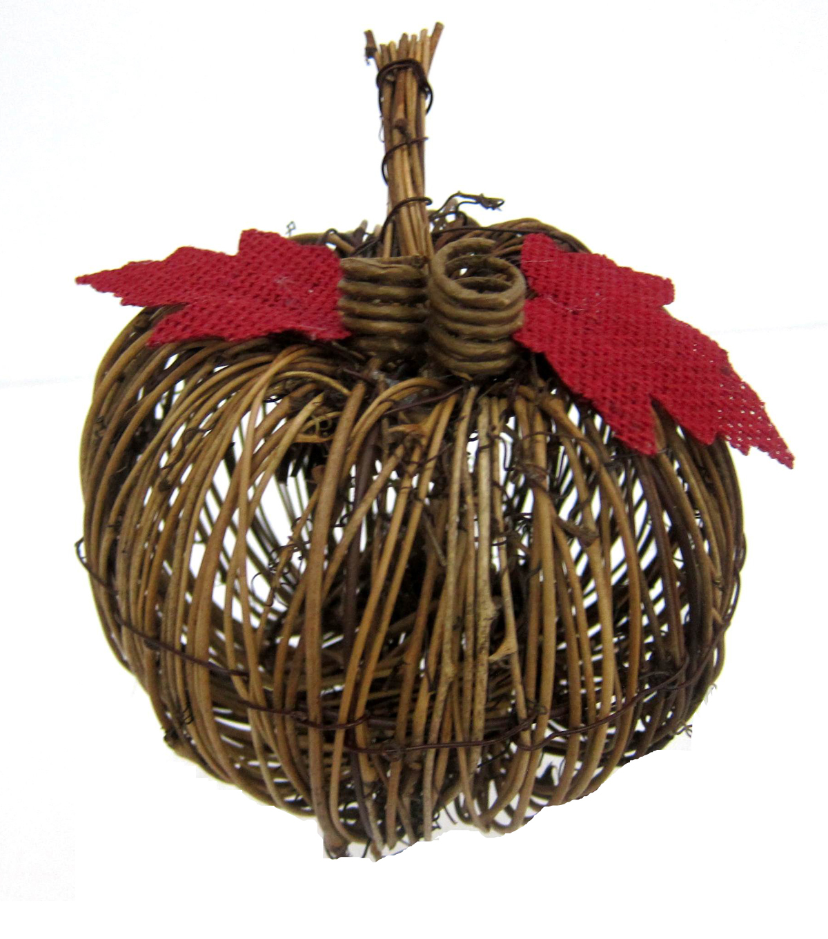 Pumpkin Boutique Small Rattan Pumpkin with Red Leaves