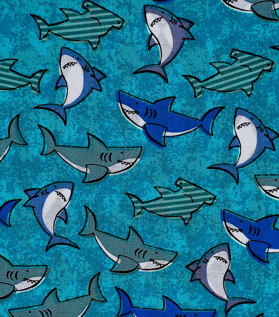 Novelty Cotton Fabric 43\u0022-Packed Sharks