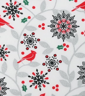 Christmas Cotton Fabric 43\u0022-Metallic Cardinal & Floral