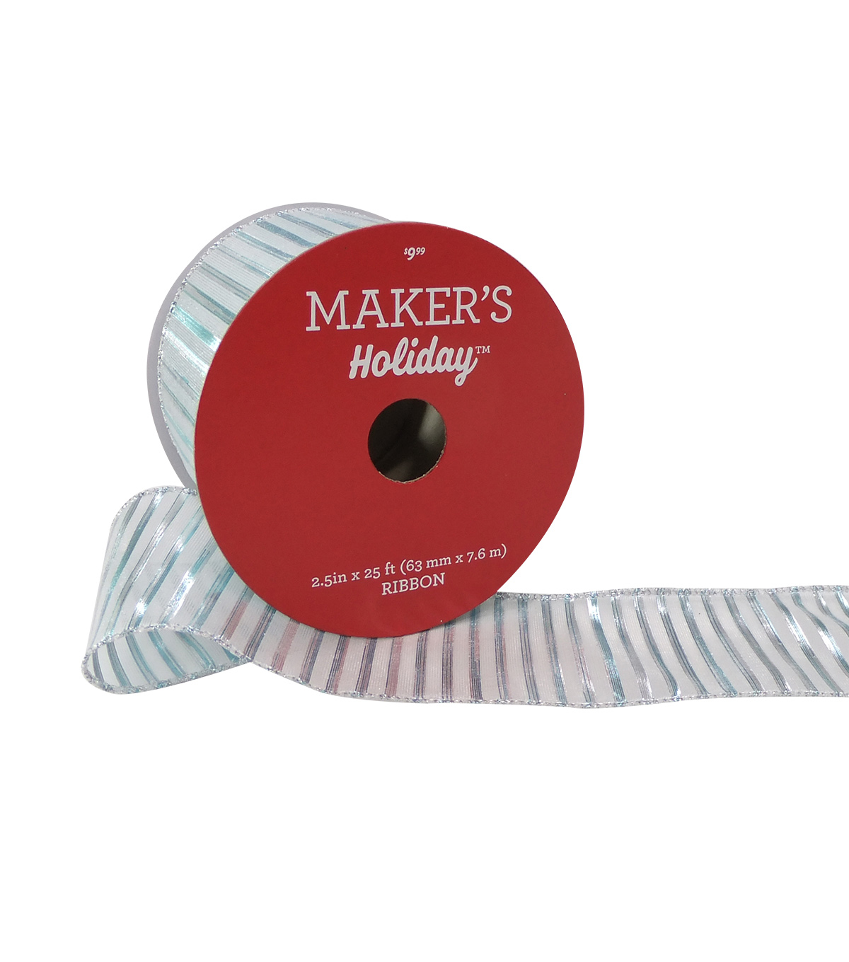 Maker's Holiday Christmas Ribbon 2.5''x25'-Stripe on White