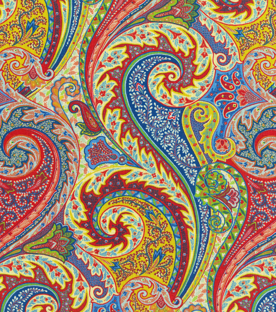 Williamsburg Solid Fabric 54\u0022-Jaipur Paisley/Jewel